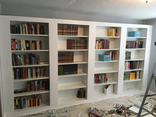 Ikea-hacked bookshelves